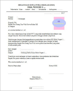 contoh surat undangan untuk orang tua/wali siswa pada acara perpisahan sekolah