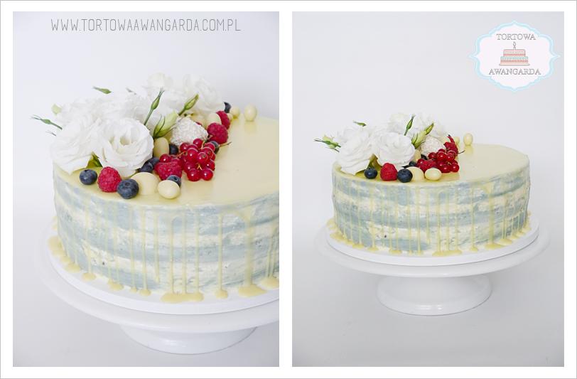 tort urodzinowy dla dziewczyny drip cake  z owocami