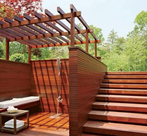 Backyard deck design with open roof wood | Backyard Design ...