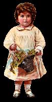 girl child flower basket image transfer illustration victorian clipart