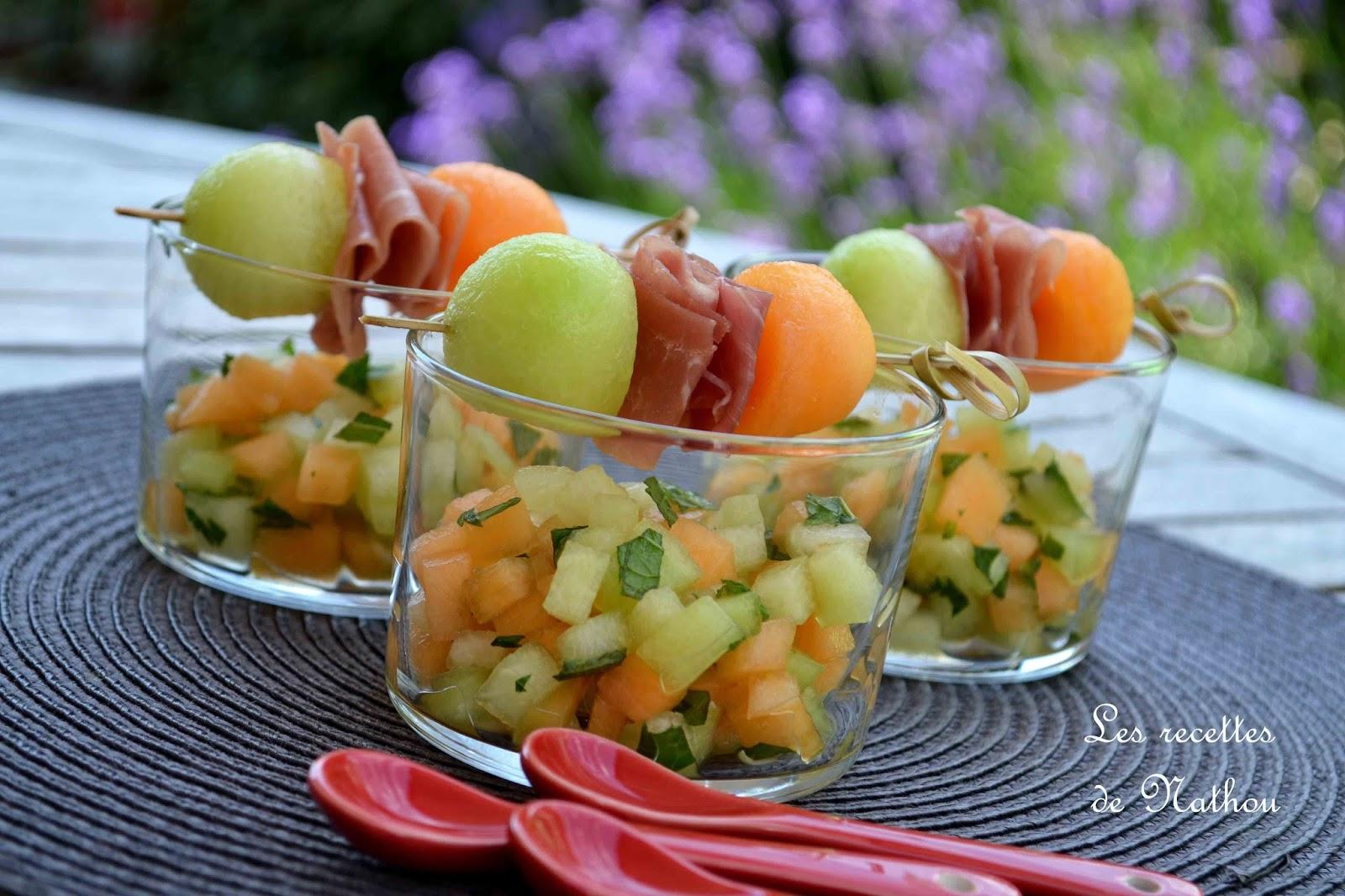 ma cuisine au fil de mes id es verrines aux 2 melons marin s l 39 orange et la menthe. Black Bedroom Furniture Sets. Home Design Ideas