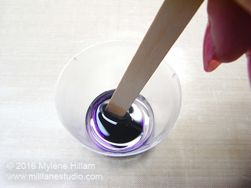 Colour Part A with two drops of Alumilite violet dye and mix well before adding Part B.
