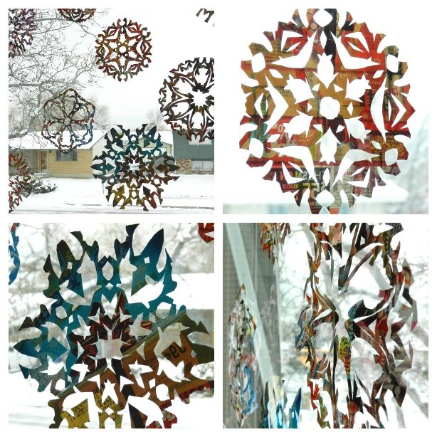 Making Junk Mail Paper Snowflakes for Holiday Decor
