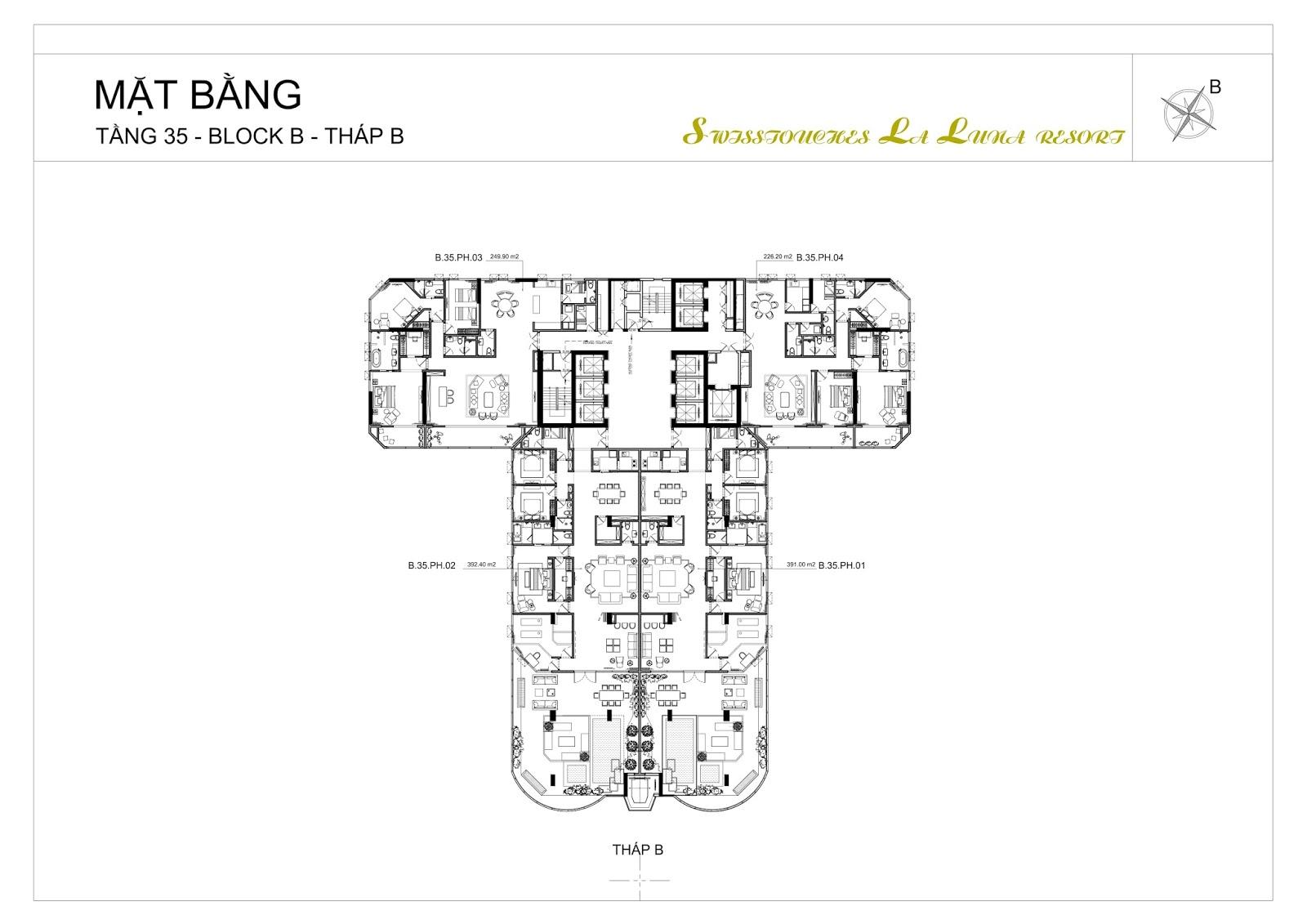 Thiết kế căn hộ tầng Penhouse La Luna Resort