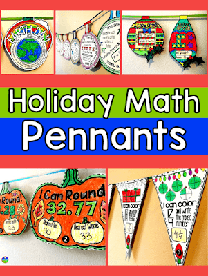 math pennants for back to school Halloween Thanksgiving Christmas Valentine's Day Pi Day Earth Day
