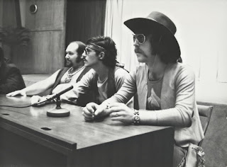 Press Conference Expo '70 japan; from left Paul Hoffert, manager Vinnie Fuscoe, Skip Prokop