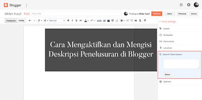 Cara Mengaktifkan dan Mengisi Deskripsi Penelusuran Blogger