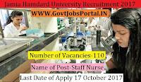 Jamia Hamdard University Recruitment 2017– 110 Staff Nurses