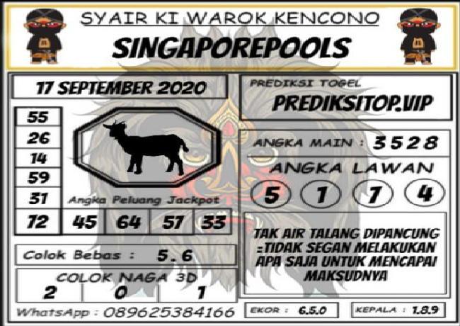 Kode syair Singapore Kamis 17 September 2020 152