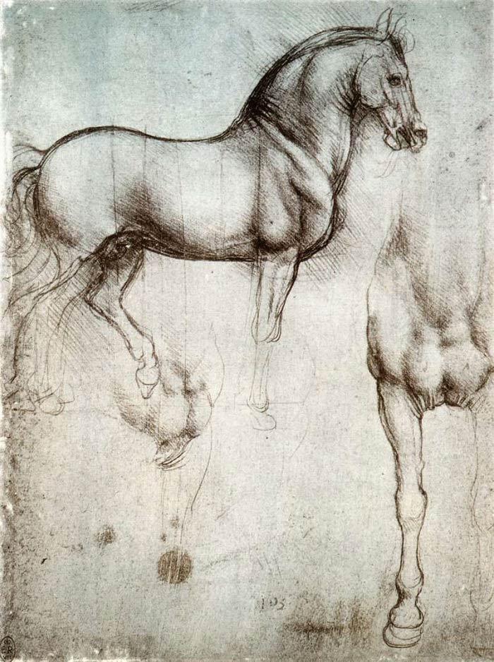 """Эскиз фигуры """"Лошади"""", Леонардо да Винчи"""