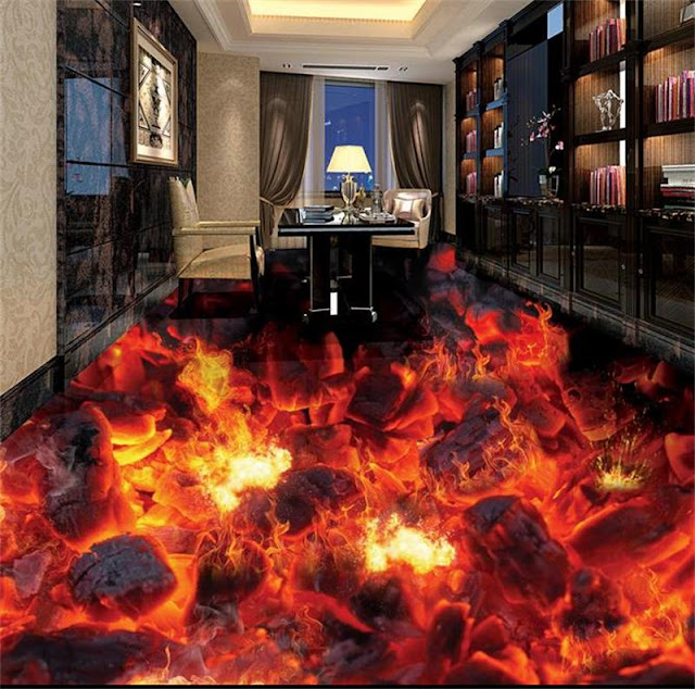 Burning Lava 3d Flooring Art Design For Living Room And Bedroom Floor