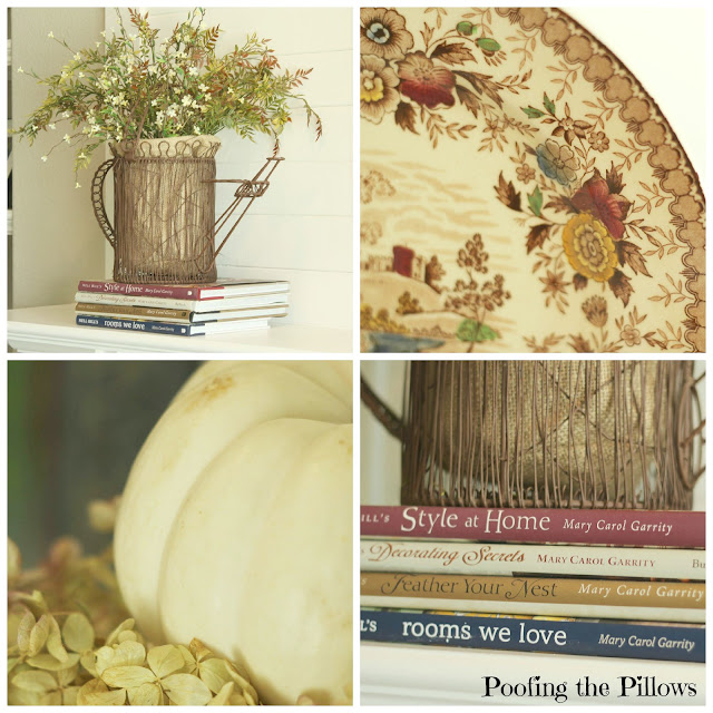 fall collage, pumpkins, mantel