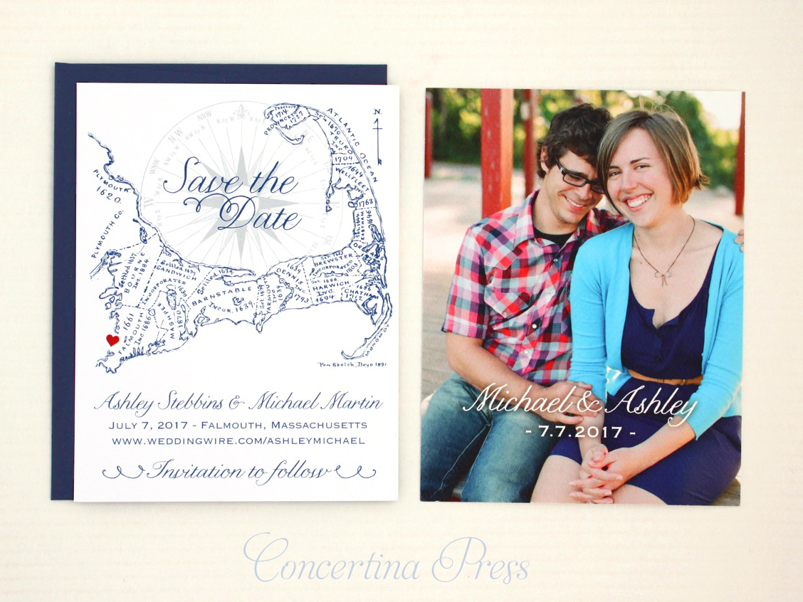 Cape Cod Photo and Map Save the Date from Concertina Press Easy Order Online