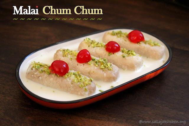 images of Malai Chum Chum / Bengali Malai Chumchum / Chomchom / Chamcham / Bengali Sweets
