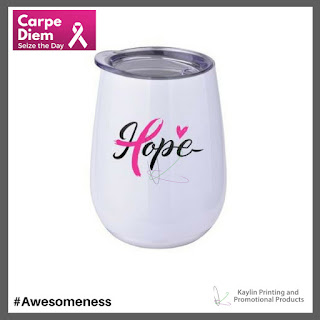 Promotional Pink Ribbon Stemless Wineglass