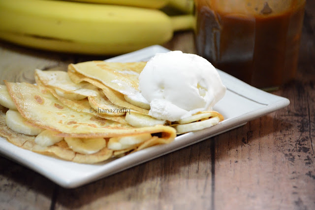 Sweet Crepes with banana and caramel sauce