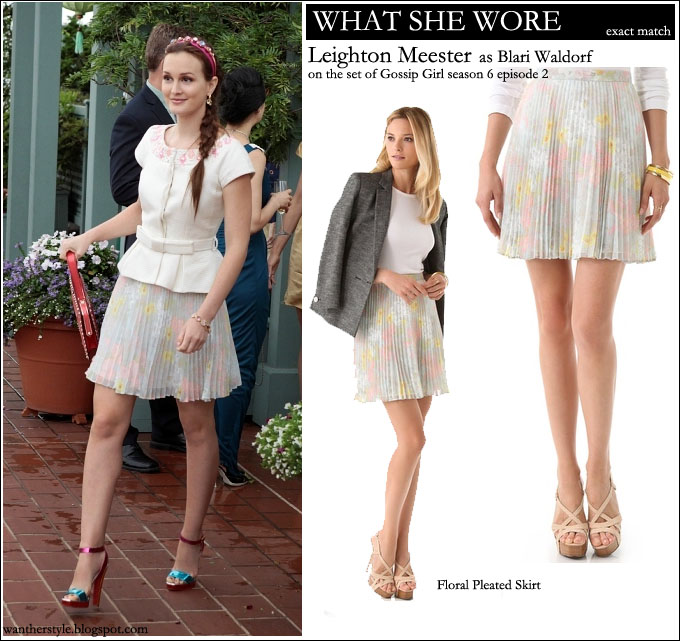 68d4d8093e WHAT SHE WORE  Leighton Meester in Gossip Girl season 6 episode 2 in pastel  floral pleated Alice and Olivia skirt ~ I want her style - What celebrities  wore ...