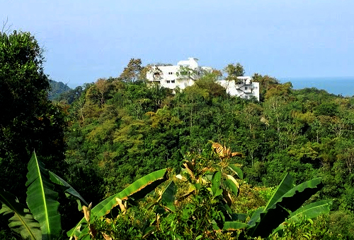 view of a hotel on a hill in the jungle