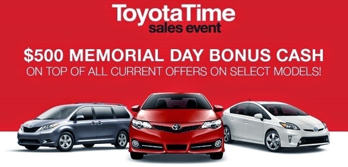 memorial day bonus cash means heiser toyota has the vehicle for you heiser 39 s quick motors blog. Black Bedroom Furniture Sets. Home Design Ideas