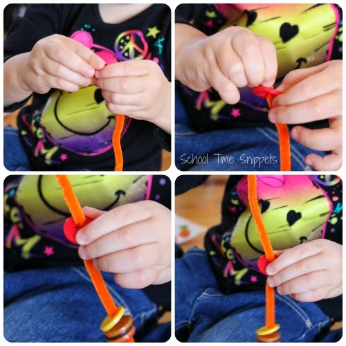 preschool Threading  fine motor skills