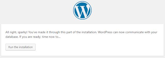 memulai proses instalasi website wordpress