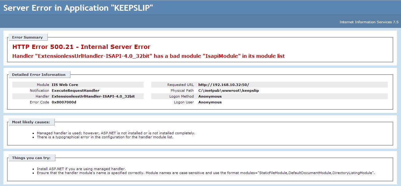 Welcome to Navin Pandit's blogspot: HTTP Error 500 21 - Internal