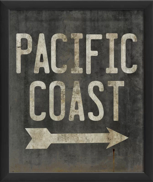 Pacific Coastal Textual Typography Art Sign