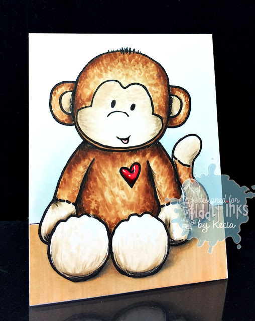 Tiddly Inks, Kecia Waters, Copic markers, stuffed monkey