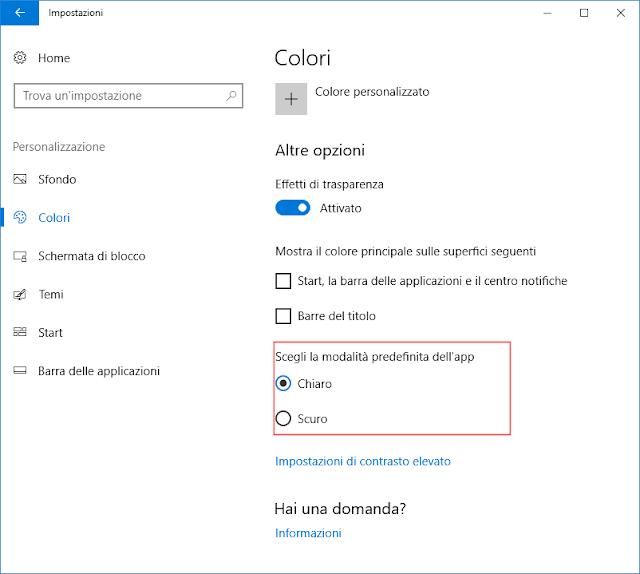 Windows 10, Selezione modalità Chiaro/Scuro dell'app