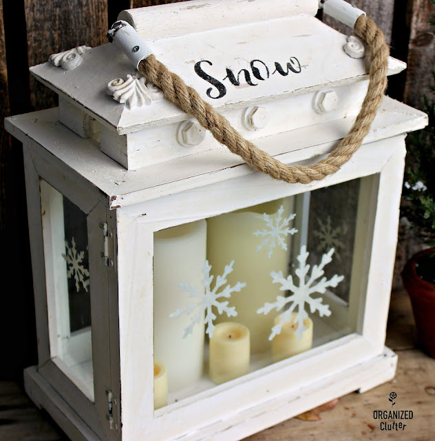 Stenciling A Lantern with Snowflakes #oldsignstencils