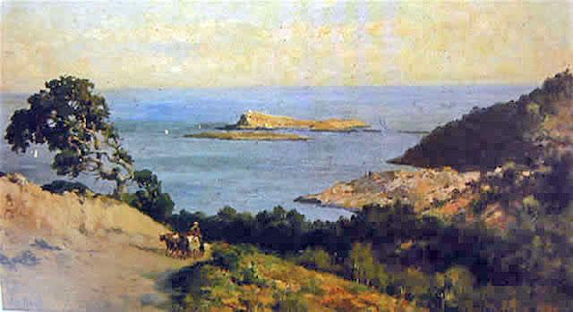 Bahía de Palma con rocas, Antonio Ribas Oliver, Mallorca en pintura, Paisajes de Antonio Ribas Oliver, Paisajes de Mallorca
