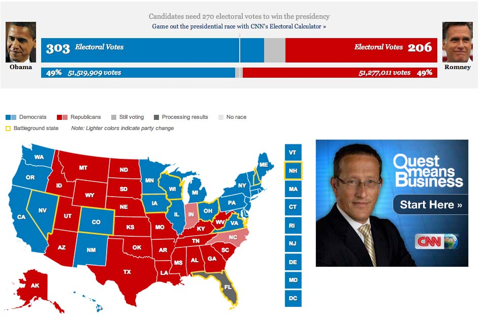 US ELECTIONS 2012 US Presidential Election Results Obama vs Romney