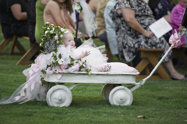Flowers added to flower girls wagon. Courtesy of Scott ... |Flower Girl Wagon Wedding Party