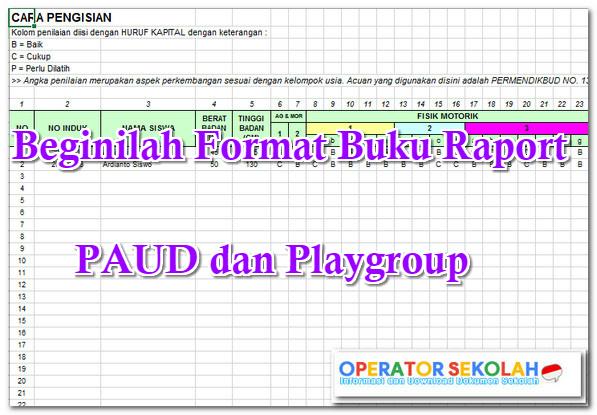 Buku Raport PAUD dan Playgroup