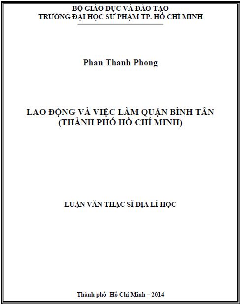 Lao động và việc làm quận Bình Tân (Thành Phố Hồ Chí Minh)