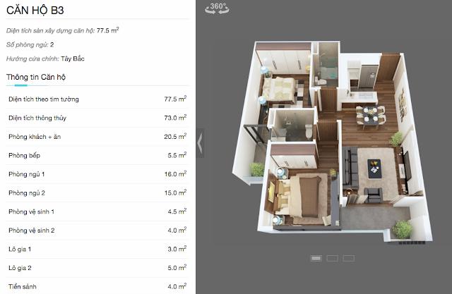 Thiết kế chi tiết căn hộ B3 chung cư The Legend