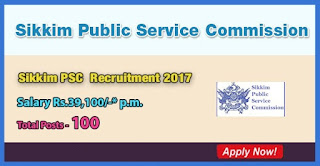 Sikkim PSC Recruitment 2017 - 100 Vacancies for Assistant Professors
