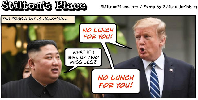 stilton's place, stilton, political, humor, conservative, cartoons, jokes, hope n' change, trump, kim, north korea, summit, nuclear, vietnam