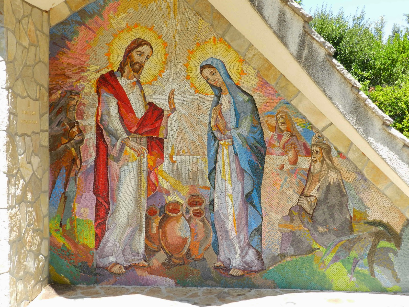 The second Luminous Mystery Mosaic in Medjugorje, the Wedding of Cana