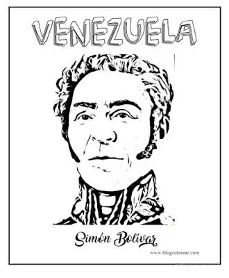 Fichas de Simón Bolívar para colorear