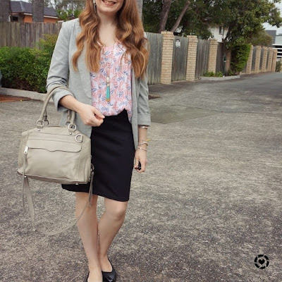 awayfromtheblue Instagram summer boho office style jersey blazer pencil skirt printed tank RM MAM bag