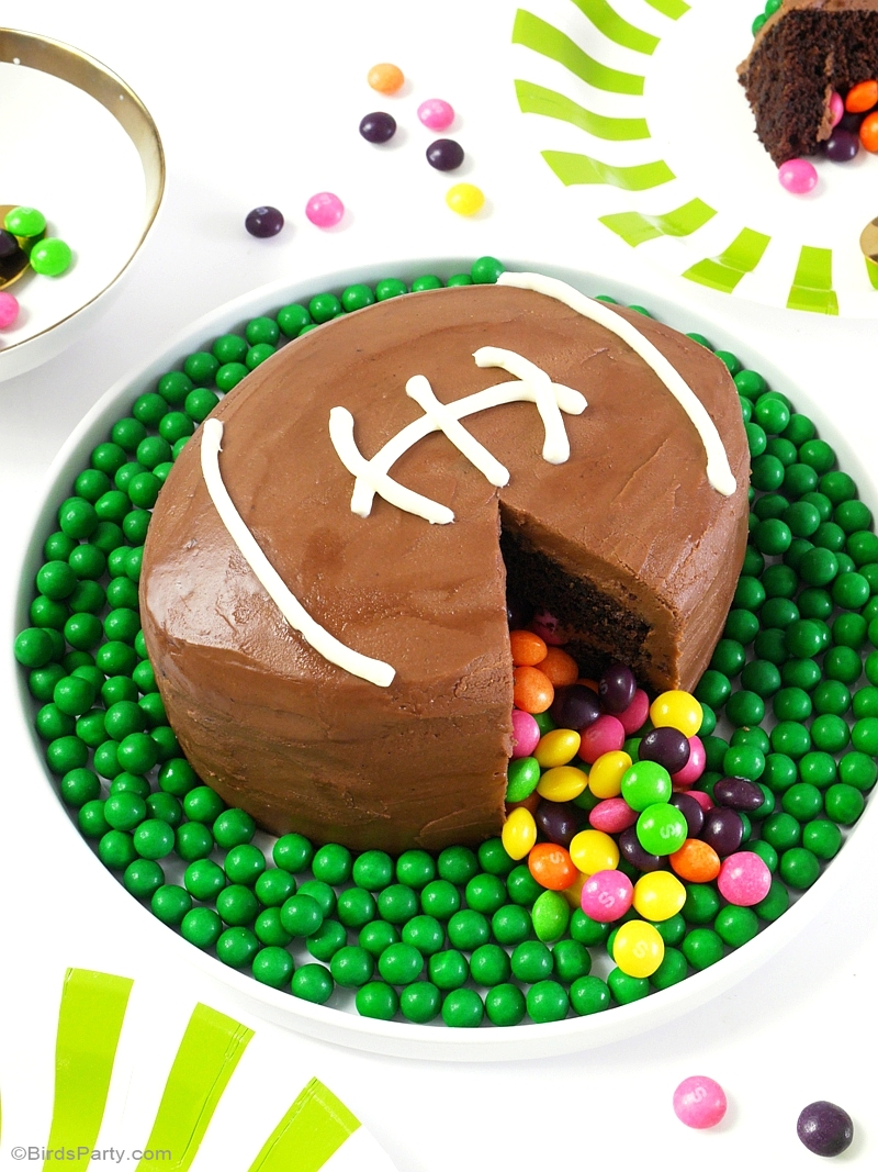 American Football Surprise Cake Recipe & DIY Instructions - BirdsParty.com