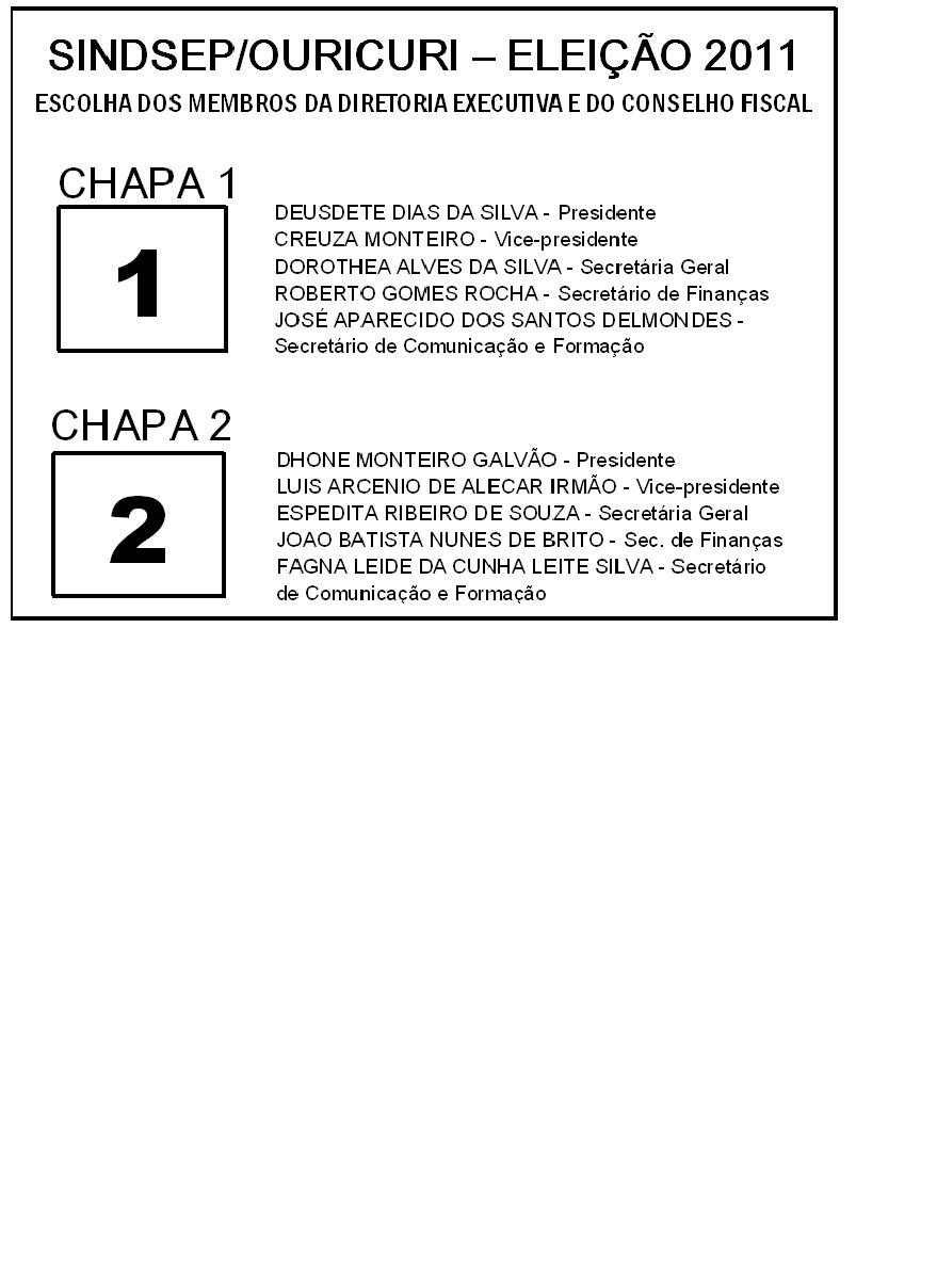 Modelo Oficial Da Cédula De Votação