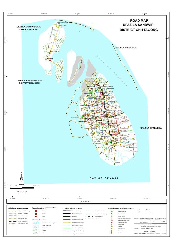 Sandwip Upazila Road Map Chittagong District Bangladesh