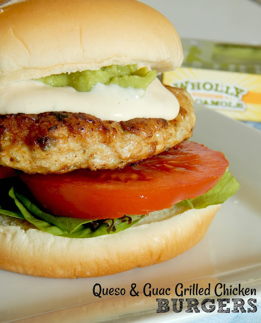 Queso & Guac Grilled Chicken Burgers...the best party burger!  Juicy, cast iron skillet chicken burgers, topped with creamy queso and guacamole.