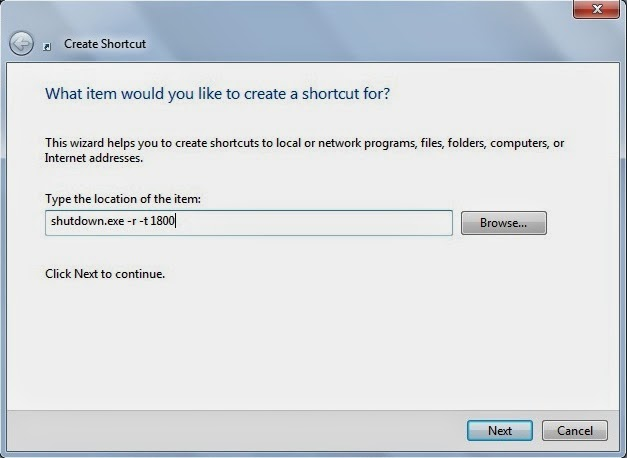 shut down shortcut command