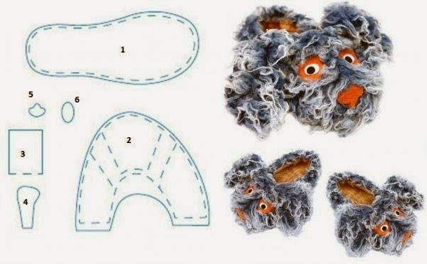 тапочки из меха в виде зверушек. Fur slippers