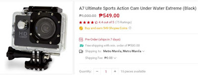 Shopee A7 Ultimate Sports Action Cam
