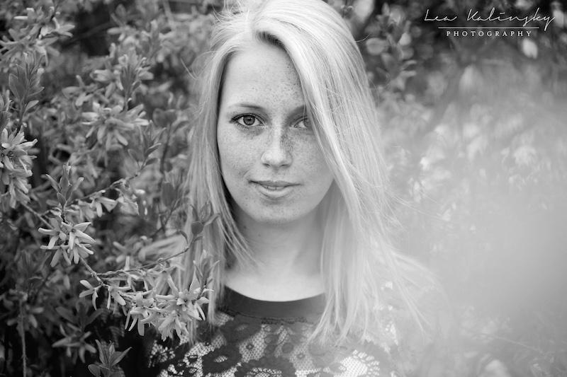 schwarz weiß Portrait im Frühling