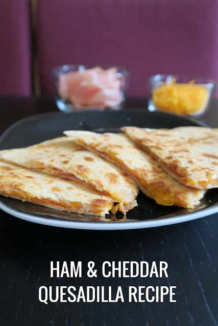 ham and cheddar quesadilla